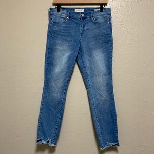 Pacsun raw step hem light wash distressed jeans